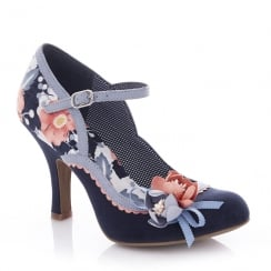Ruby Shoo Silvia Navy Floral Mary Jane High Heel Shoes