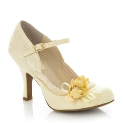 Ruby Shoo Silvia Lemon Floral Mary Jane High Heel Shoes