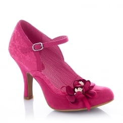 Ruby Shoo Silvia Fuchsia Floral Mary Jane High Heel Shoes