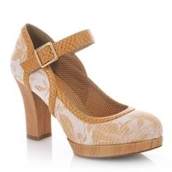 Ruby Shoo Cassandra Sand Floral High Heel Platform Shoes