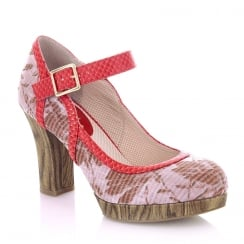Ruby Shoo Cassandra Coral Floral High Heel Platform Shoes