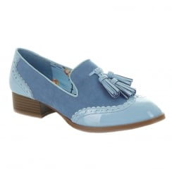 Ruby Shoo Tara Blue Low Heel Tassel Brogue Style Loafer Shoes