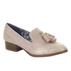Ruby Shoo Tara Champagne Low Heel Tassel Brogue Style Loafer Shoes