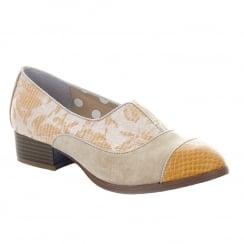 Ruby Shoo Brooke Sand Floral Low Heel Slip On Shoes