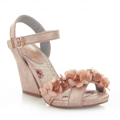 Ruby Shoo Ellen Champagne Silk Flower Ankle Strap Heeled Sandals
