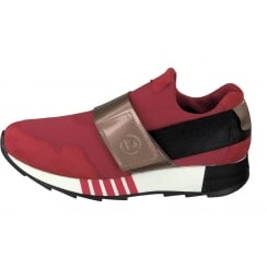 Bugatti Red Wide Strap Slip On Trainer
