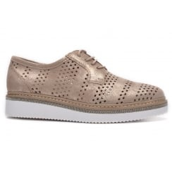 Alpe 3561 Perforated Lace Up Shoe - Rose Gold