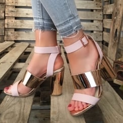 Millie & Co Block Heel Sandal - Pink & Rose Gold