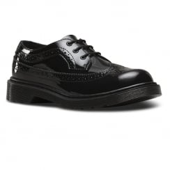 Dr.Martens Youth Black Patent Lace Up Brogues Shoe - 3989