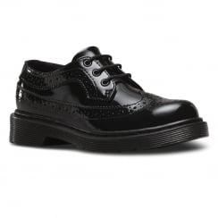 Dr.Martens Junior Black Patent Lace Up Brogues Shoe - 3989