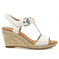 Gabor Karen White Womens Modern Wedge Sandals