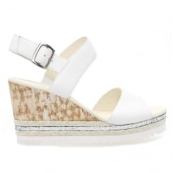 Gabor Wicket White Ladies Wedge Heel Sandals