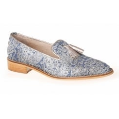 Nicola Sexton 3846 Denim Blue Floral Loafer