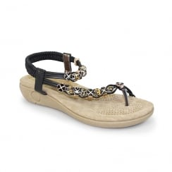 Lunar JLH880 Essence Beaded Toe Loop Sandal - Black