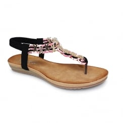 Lunar JLH900 Antigua Toe Post Sandal - Black
