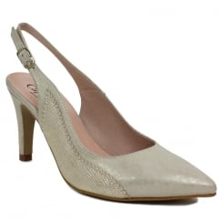 Capollini Luanne Platino Gold Snake Slingback Pointed Heels
