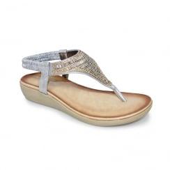 Lunar JLH908 Adeline Gemstone Toe Post Sandal - Grey/Gold