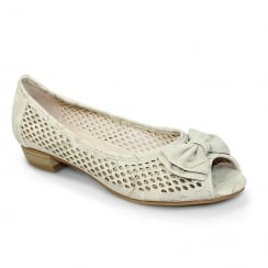 Lunar FLCM105 Coast Beige Peep Toe Punched Flat Shoes