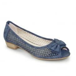 Lunar FLC106 Kane Canvas Blue Peep Toe Punched Flat Shoes