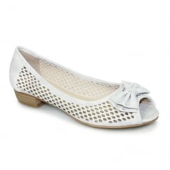 Lunar FLC106 Kane Canvas Grey Peep Toe Punched Flat Shoes