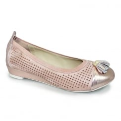 Lunar FLH638 Farrell Pink/Gold Leather Punched Pump