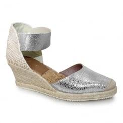 Lunar JLN090 Melia Leather Ankle Strap Wedge Espadrille - Silver