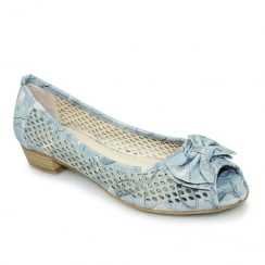 Lunar FLCM105 Coast Blue Peep Toe Punched Flat Shoes