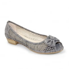 Lunar FLCM105 Coast Grey Peep Toe Punched Flat Shoes