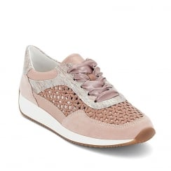 Ara Lisbon Womens Lace Up Rose Nude Leather Sneaker Shoes