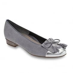 Ara Bari Womens Slip On Silver Grey Leather Pump