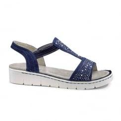 Jenny Ara Navy Wide Fitting Flat Sandals