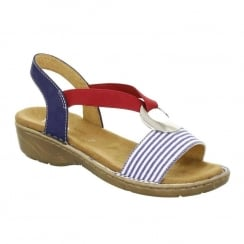 Jenny Ara Women's Blue Red Slip-on Low Wedge Sandals