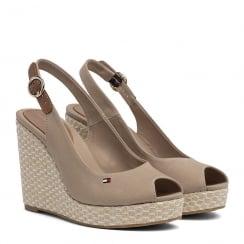 Tommy Hilfiger Iconic Elena Slingback Beige Espadrille Wedge Sandals