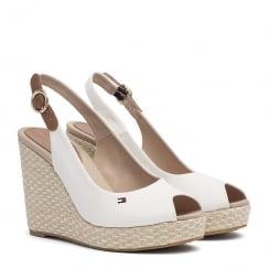 Tommy Hilfiger Iconic Elena Slingback White Espadrille Wedge Sandals