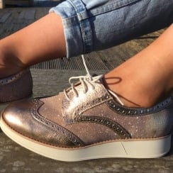 Wonders Rose Gold Shimmer Brogue Shoe