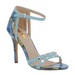 Glamour Victoria Pink Coral Reptile Strappy Sandal