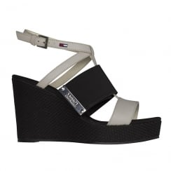Tommy Hilfiger White/Black Wedge Heeled Slingback Sandals