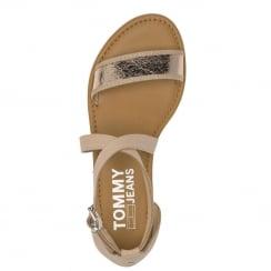 Tommy Hilfiger Ladies Rose Gold Flat Leather Sandal
