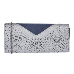 Lotus Fidda Navy & Pewter Glitz Clutch Bag