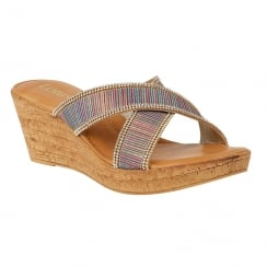 Lotus Multi Stripe Arika Wedge Mule Sandals