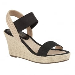 Lotus Ladies' Adita Black Wedge Open-Toe Sandals