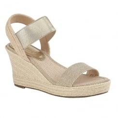 Lotus Ladies' Adita Gold Wedge Open-Toe Sandals