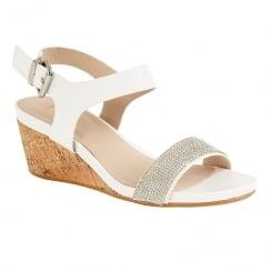 Lotus Ladies' Ace White Glitz Wedge Open-Toe Sandals