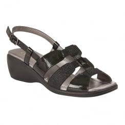 Lotus Ladies' Mississippi Black Sling-Back Sandals
