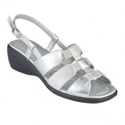 Lotus Ladies' Mississippi Silver Sling-Back Sandals