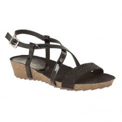 Lotus Cuba Black Metallic Flat Sandals