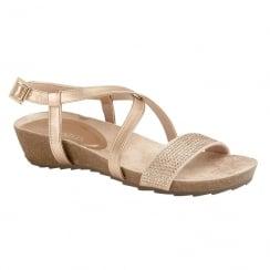 Lotus Ladies' Cuba Rose Metallic Flat Sandals
