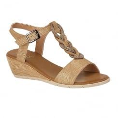 Lotus Ladies' Orta Beige Low Wedge Sandals