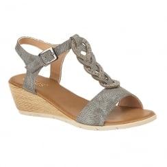 Lotus Ladies' Orta Pewter Low Wedge Sandals