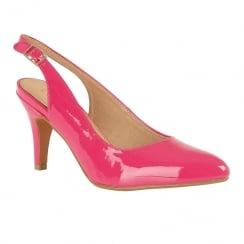 Lotus Nadia Fuchsia Patent Sling-Back Court Shoes